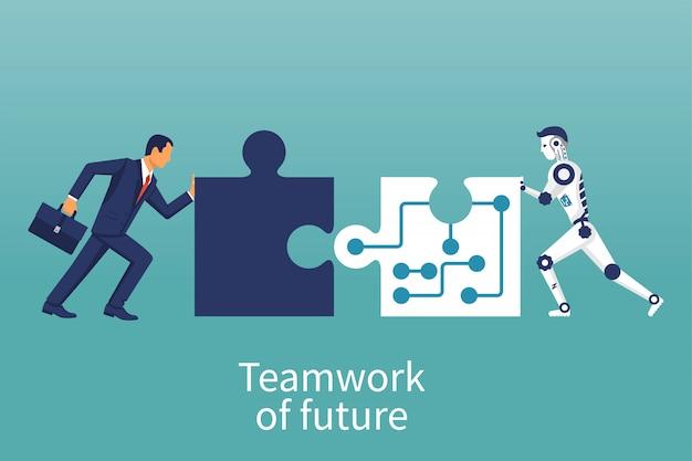 Hommes d'affaires et robot reliant des éléments de puzzle.