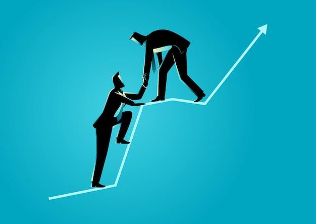 Hommes d'affaires s'entraidant au sommet de la charte graphique