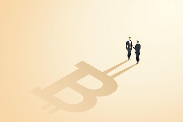 Les hommes d'affaires se serrant la main conviennent de l'innovation en matière de crypto-monnaie d'échange de devises d'échange de bitcoins