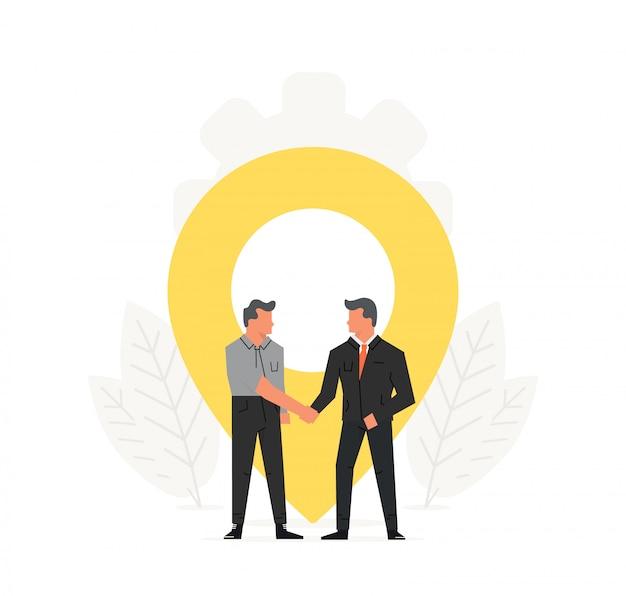 Hommes d'affaires se serrant la main devant une épingle de localisation.