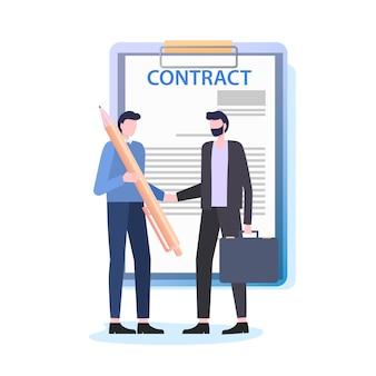 Hommes d'affaires serrent la main d'un homme avec un stylo signent un contrat