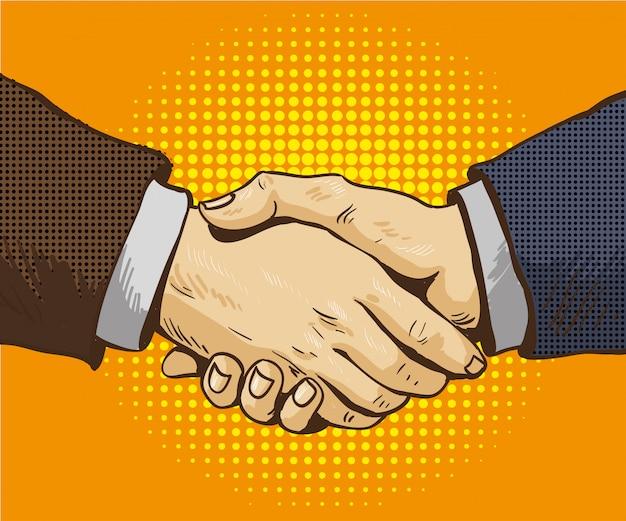 Hommes d'affaires serrent la main vector illustration dans un style rétro pop art. négociation de partenariat dans la conception de bandes dessinées