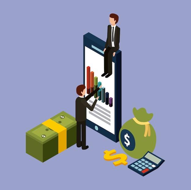Hommes d'affaires avec smartphone graphique argent calculatrice en argent