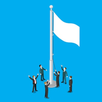 Hommes d & # 39; affaires soulevant un drapeau vide blanc sur mât de drapeau mât plat isométrique