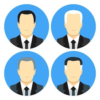 Hommes d'affaires de style plat avec quatre coupes de cheveux. ensemble d'icônes stylisées plat