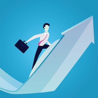 Hommes d'affaires surfant sur le succès arrow concept