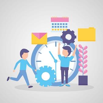Hommes d'affaires avec le temps d'horloge