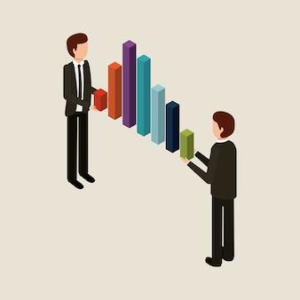 Hommes affaires, tenue, graphique, barres, affaires financières, isométrique