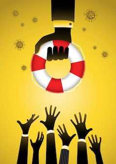 Des hommes d'affaires en train de se noyer reçoivent une bouée de sauvetage d'un autre homme d'affaires. aider les entreprises à survivre. concept d'investissement