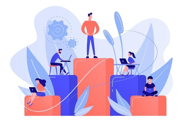 Les hommes d'affaires travaillent avec des ordinateurs portables sur des colonnes graphiques. hiérarchie d'entreprise, organisation hiérarchique, niveaux de concept de hiérarchie sur fond blanc.