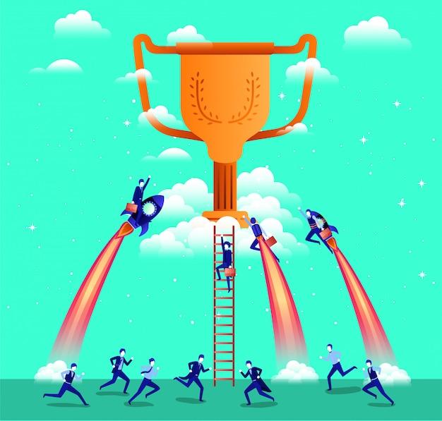 Hommes d'affaires volant dans les roquettes commencent avec trophée