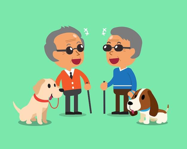 Les hommes âgés aveugles et leurs chiens