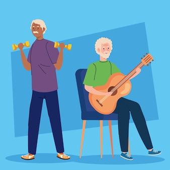 Hommes âgés faisant différentes activités et passe-temps