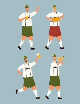Hommes allemands portant des costumes tyroliens buvant des bières caractères vector illustration design