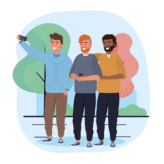 Hommes amis avec smartphone selfie