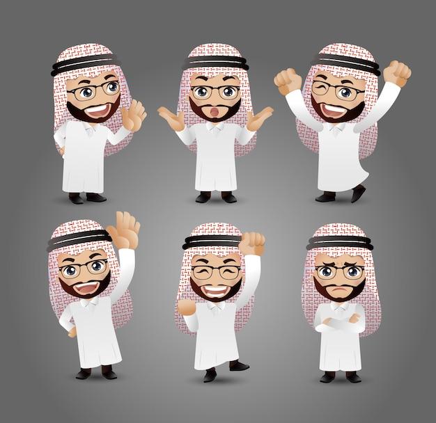 Hommes arabes avec des poses différentes