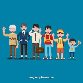 Hommes asiatiques de différents âges