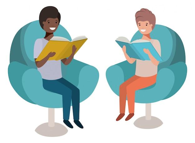 Hommes assis dans un canapé avec personnage avatar de livre