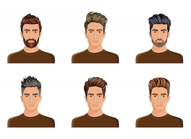 Les hommes avaient l'habitude de créer la coiffure de la barbe de caractère, la mode masculine de moustache, l'image, le visage élégant de hipstel, les options d'utilisation.
