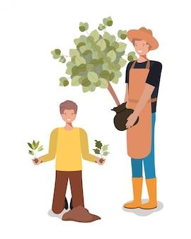 Hommes d'avatar et concept de jardinage