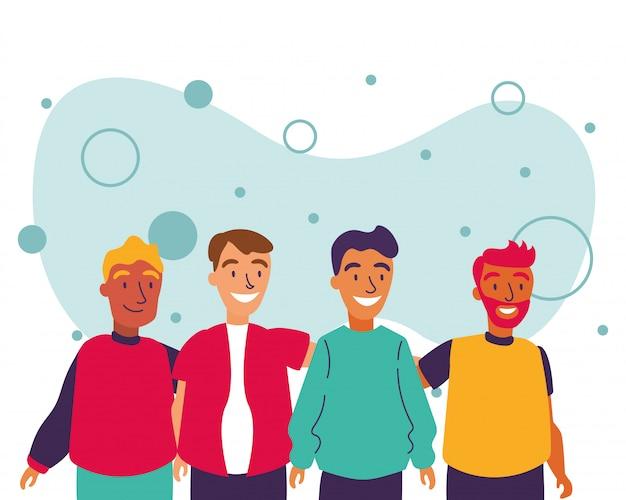Hommes avatars amis vector design