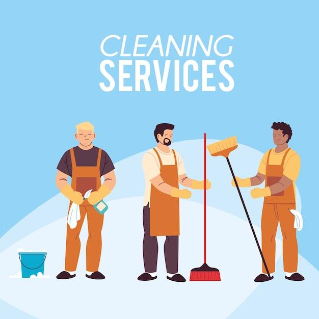 Hommes avec balais et seau pour le nettoyage des illustrations de service