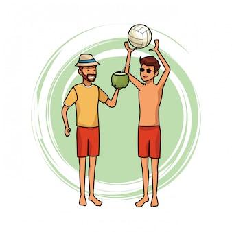 Hommes avec balle de voleyball et noix de coco