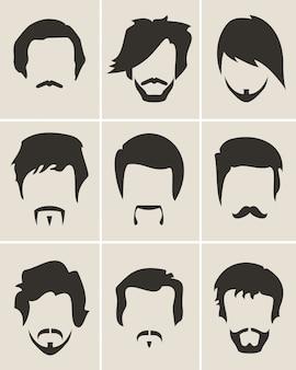 Hommes barbe et jeu de style de cheveux