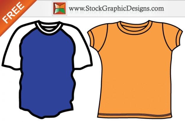 Hommes blank modèles t-shirt vector set gratuit