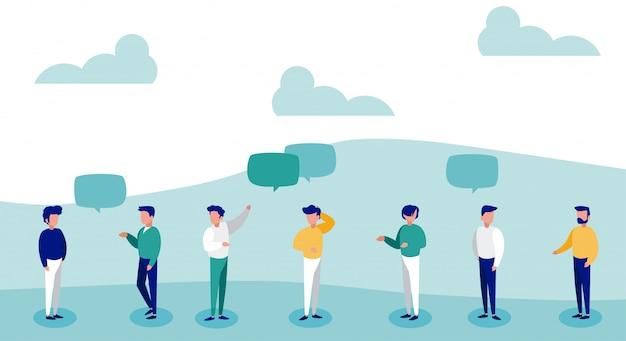 Hommes avec bulle de dialogue, distanciation sociale