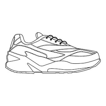 Hommes chaussures baskets formateurs isolés. chaussures de saison homme masculin ou icônes de course. croquis technique. illustration vectorielle de chaussures