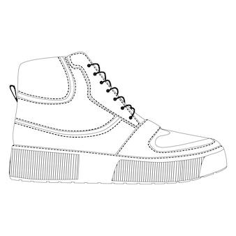 Hommes chaussures baskets montantes isolées. icônes de chaussures de saison homme masculin. croquis technique. illustration vectorielle de chaussures