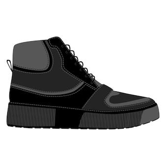 Hommes chaussures baskets montantes isolées. icônes de chaussures de saison homme masculin. illustration vectorielle de chaussures
