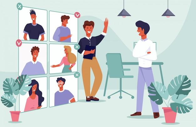 Hommes choisissant un candidat pour des rendez-vous amoureux ou des vacances d'emploi