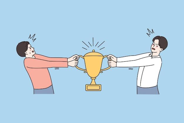 Des hommes en colère se battent pour le trophée de la coupe d'or
