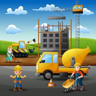 Hommes constructeurs et engins de chantier