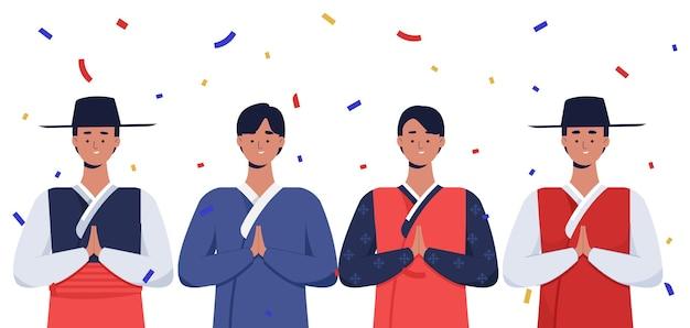 Hommes coréens célébrant la journée chuseok