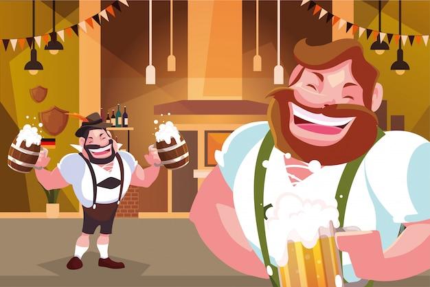 Des hommes en costume traditionnel allemand boivent de la bière dans la célébration de la fête de la bière, au bar