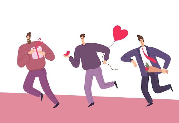 Les hommes courent sur la saint-valentin