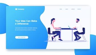 Hommes d'affaires et femmes d'affaires réunion et brainstorming