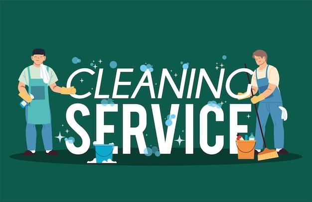 Hommes dans la blanchisserie et le service de nettoyage illustration desing