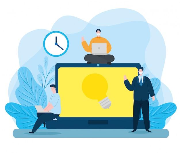 Les hommes dans l'éducation en ligne avec des icônes illustration design