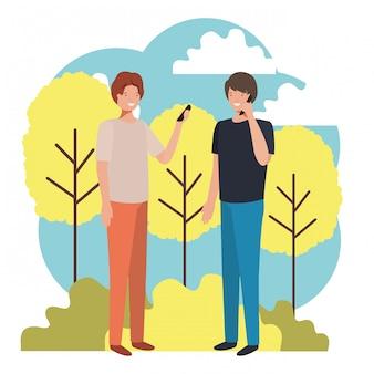 Hommes dans le paysage avec personnage avatar smartphone