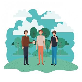 Les hommes dans le personnage avatar du paysage