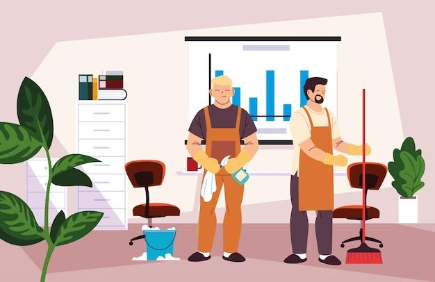 Hommes dans le service de nettoyage de bureau illustration desing