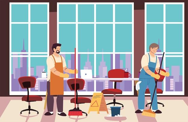 Les hommes dans le service de nettoyage dans la conception de l'illustration de la chambre