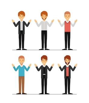 Hommes dans la silhouette colorée de vêtements formels