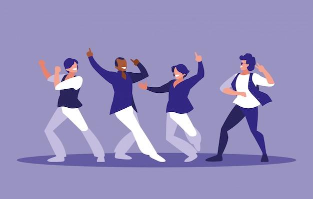 Les hommes dansent le personnage d'avatar