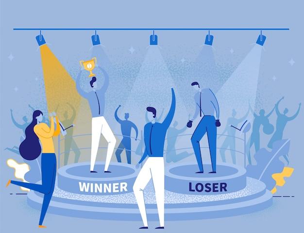 Hommes de dessin animé debout sur le podium gagnant et plus lâche
