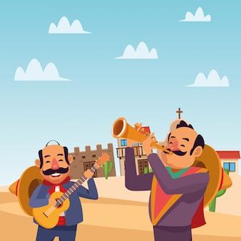 Hommes de dessin animé mexicain